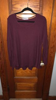 Maurice s Maroon 3/4 Embroidered Sleeve Top