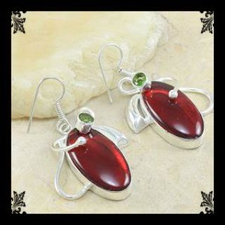 NEW - Carnelian Peridot 925 Sterling Silver Earrings - 1 7/8'' including bail