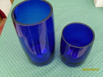 Cobalt Blue Pillar Candle Holders by The White Barn Candle Co
