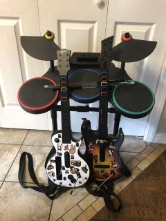 EUC Guitar Hero Wii drum set with led sticks and two guitars