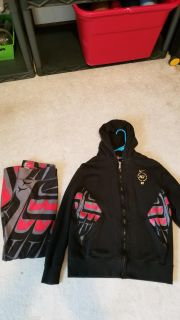 N7 dri-fit yoga pants and matching zip sweater