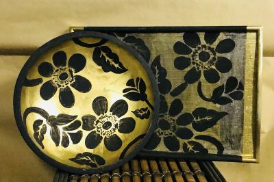 11 inch bowl and 16 inch diameter serving tray