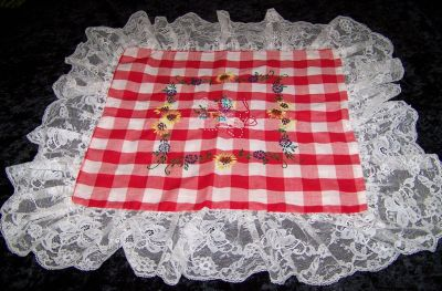 Vintage Hand Embroidered Red & White Gingham Pillow Sham with Lace