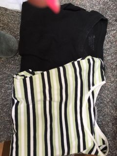 Size medium black thermal shirt with striped short sleeve top