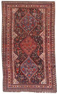 Handmade antique Persian Khamseh rug, 1B193
