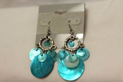 NWT Silver Tone Blue Teal Iridescent Charms Chandelier Royal Drop Dangle Hook