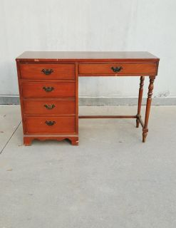 Mid Century 4 Drawer Early American Style Writing Desk