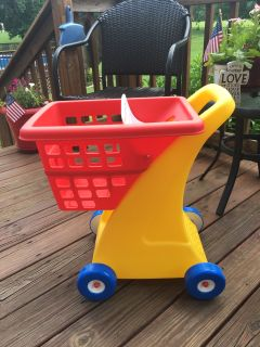 """LITTLE TIKES SHOPPING CART"" / VERY STURDY / FOLDING SEAT / LOTS OF STORAGE ROOM ON BOTTOM -B/G GENDER / SELLS FOR $24.99 TARGET"
