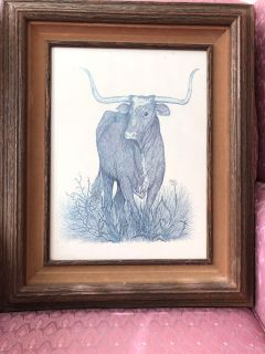 Custom Framed Doreen Luckie Longhorn Print (with glass)