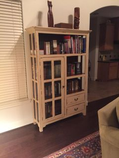 MOVING SALE Glass & solid-wood bookshelf