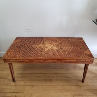 Mid Century Op Art Inlaid Wood Coffee Table