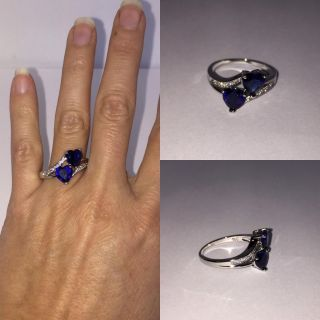 Double Heart Sapphire & CZ Sterling Silver Ring