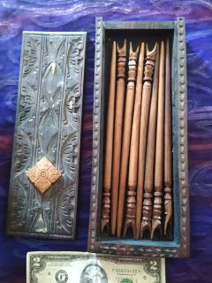 Vintage Balinese Wooden Chopsticks in Cool Wood Box!!