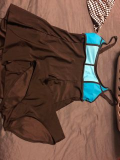 As M color block swim dress w/bottoms