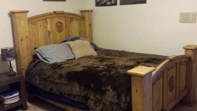 Beautiful rustic queen bed with mattress and box spring