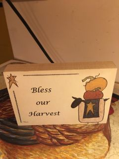 Bless our Harvest - Block sign