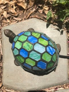 Quoizel Tiffany Style Stained Glass & Brass Turtle
