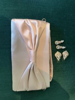 Rose gold Wedding earrings, small hair combs, and hand bag