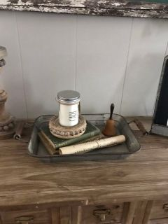Galvanized tray with wood handles
