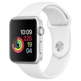 ***Apple Watch Aluminum Case with White Sport Band - Silver***