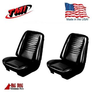 Buy 1967 Chevelle Coupe Front Buckets / Rear Seat Upholstery Black Vinyl IN STOCK! motorcycle in Los Angeles, California, United States, for US $399.99