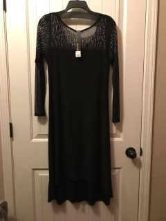 NWT Black dress with iridescent accents, sheer sleeves, high/low hem and scoop neck back $50.00