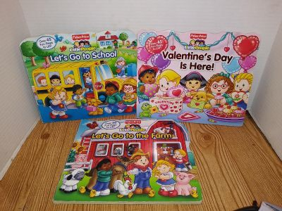 3- Fisher price little people books hardcover with flaps