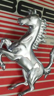 Ferrari chrome prancing horse emblem / badge