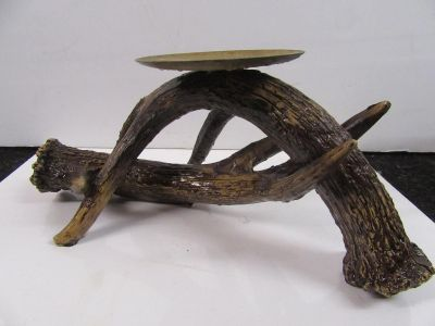 """11 x 4 1/2"""" tall faux Antler candle holder like new"""