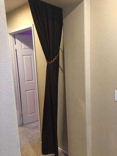 Brown Single Curtain Panel and Tie Back