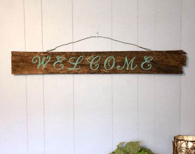 Welcome sign ~ hand painted on rustic wooden plank (40 x5 )