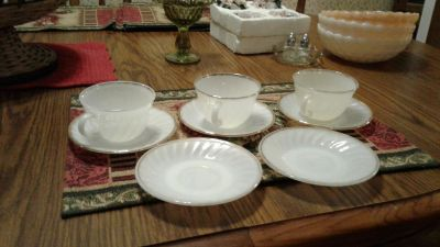 3 Fire King white cups & saucers
