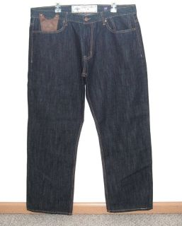 Akoo Relaxed Fit Dark Blue Flap Pocket Denim Jeans Mens Tag 40 Measures 39 x 30
