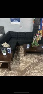 Black Polyfiber Sofa