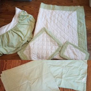 """Pottery Barn Twin Bedding and 84"""" Curtains"""