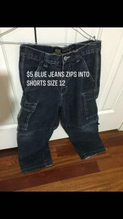 Boys blue jeans that zip into shorts size 12