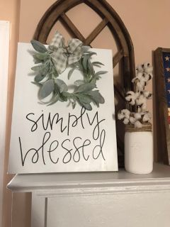 Simply blessed canvas with lambs ear wreath