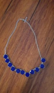 Bright Blue Necklace Color in picture is correct. Adjustable chain **Porch Pickup**