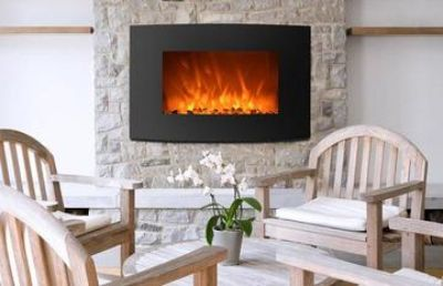 """Curved 35"""" electric fireplace with dual heat modes and flame effect"""