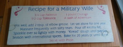 Recipe for Military Wife Sign
