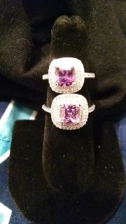 Purple Diamondique Wedding Ring with Cubic zirconia .925 stamped Sterling Silver