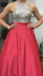 Silver sequin and hot pink prom dress- full length