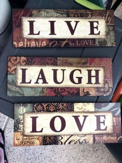 Beautiful Wood Wall Decor! Take all 3 for $5 each measures 16 x 6 good Condition.