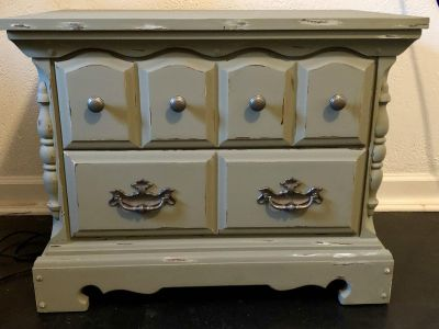 Chunky distressed end table