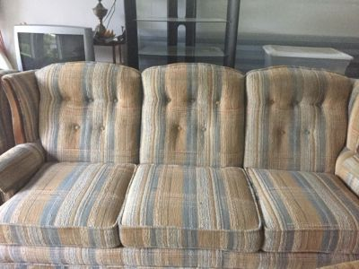 Blue and tan, Couch, loveseat, chair and ottoman