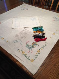 Vintage Linen Stamped Embroidery Tablecloth Kit