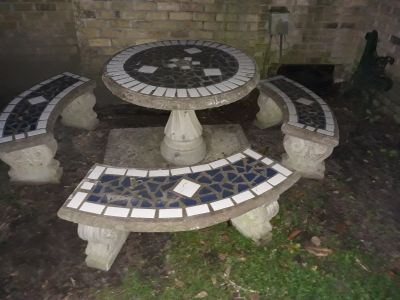 Tile Topped Cement Table with Benches