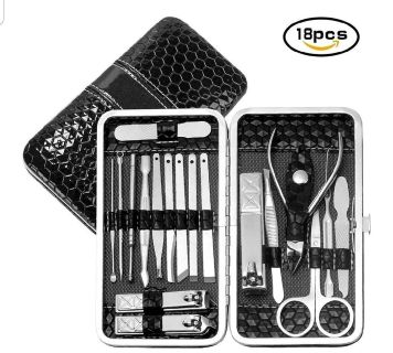 NEW: Manicure, Pedicure, Facial Set, 18 in 1 Stainless Steel Professional Grooming Kit for Man or Woman