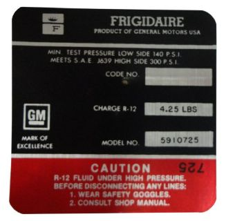 Purchase 1968 Oldsmobile Frigidaire AC Compressor Decal motorcycle in San Diego, California, United States, for US $6.60