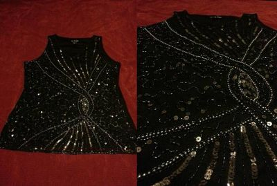 Beautiful Sequin beaded SilverBlack Top size 1X (NEW wo tags)
